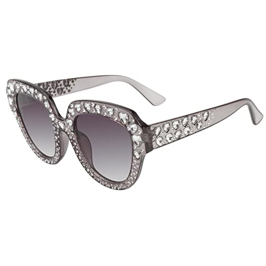 805f3a50da56 MEETSUN Heart Shaped Sunglasses For Women Oversized Cateye Rhinestones  Studded Shades (Gray Frame