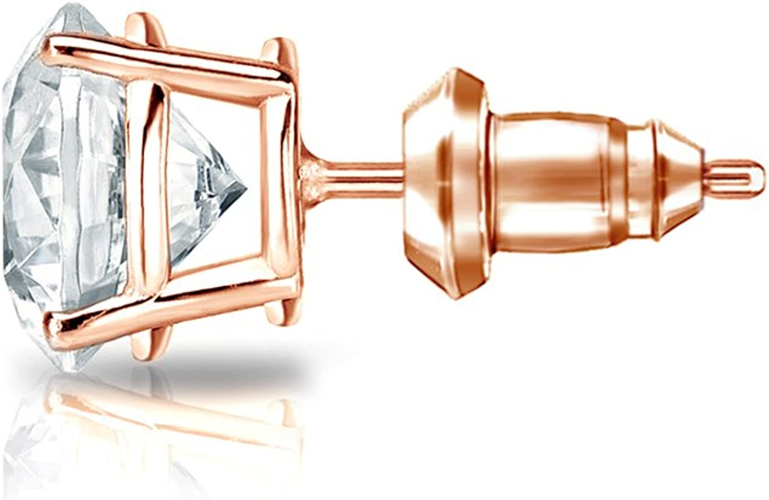 14k Rose Gold Men Round Diamond Simulant CZ SINGLE STUD Earring 4-Prong 1//8-1cttw,Excellent Quality
