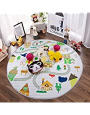 Baby Play Mat, Winthome Non-Slip Gym Play Mat Crawling Mat, 59-inch Large Diameter Round Foldable Soft and Washable Toys Storage Organizer(house)