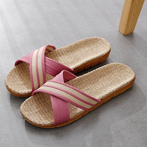 linen floor girls couples Summer Pink fankou slip in summer stay seasons for 40 39 thick room cool men's home the a wooden anti slippers qwEd7nSUd