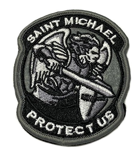 SAINT MICHAEL PROTECT US Tactical Patch Military Morale Logo Theme History USA World Flag Series Embroidered Hook and Loop Badge DIY Appliques ()