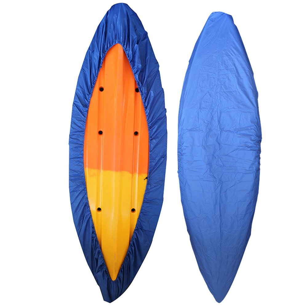 GYMTOP 7.8-18ft Waterproof Kayak Canoe Cover- Outdoor Storage Dust Cover UV Protection Sunblock Shield for Fishing Boat/Kayak/Canoe 7 Sizes [Choose Color] (Dark Blue, Suitable for 12.3-13.5ft Kayak) by GYMTOP