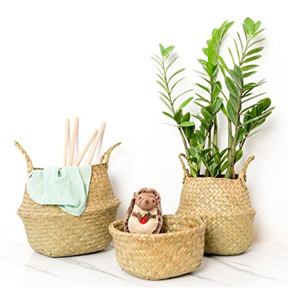 CENDGOOD Natural Seagrass Woven Basket Bin Hamper Foldable with Handles for Storage Plant Pot Decorative 7.8x6.7 CENGOOD