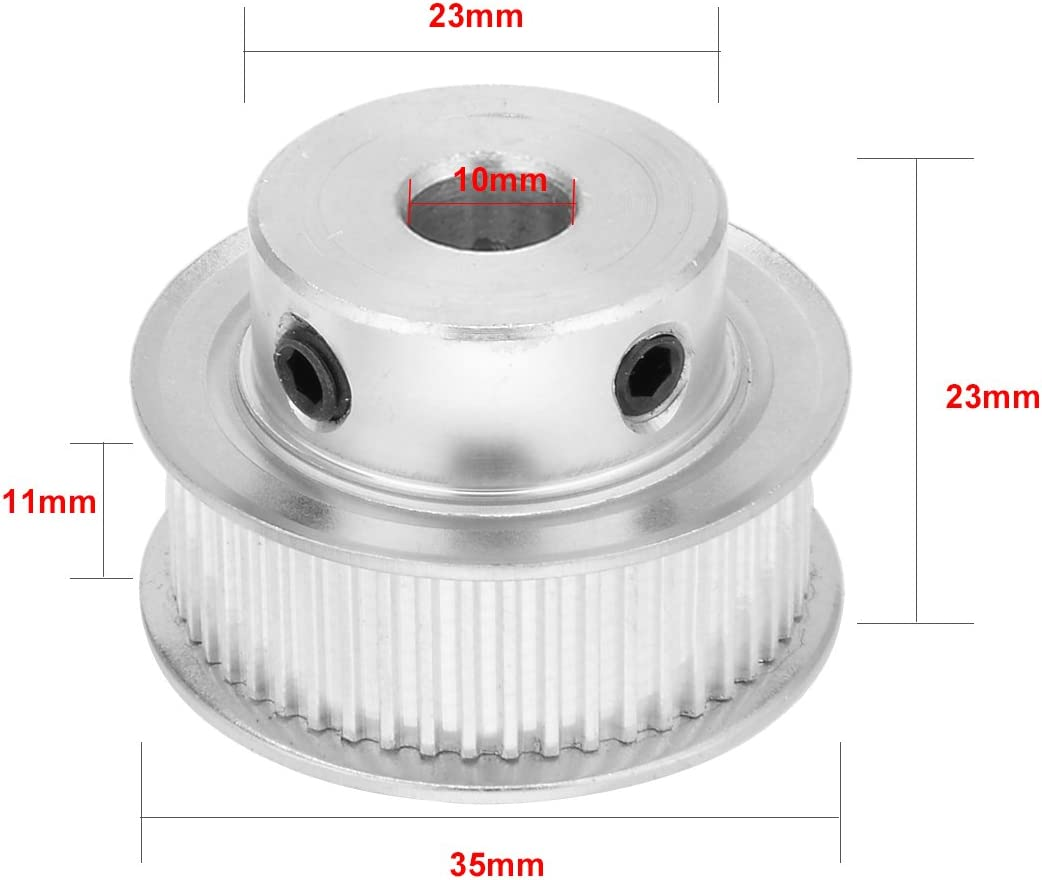 uxcell Aluminum MXL 50 Teeth 10mm Bore Timing Belt Idler Pulley Synchronous Wheel 10mm Belt for 3D Printer CNC