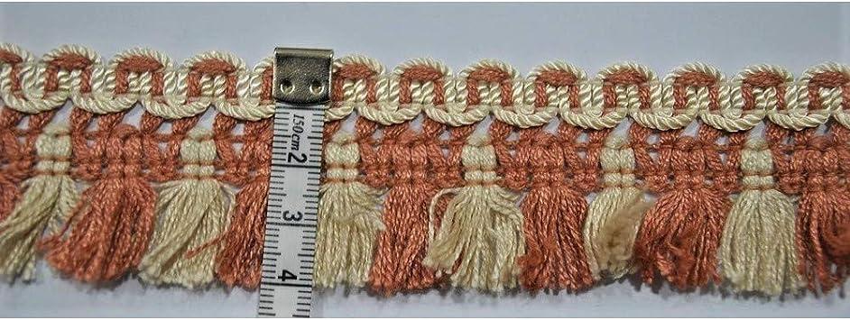 Beige e Panna TOMASELLI MERCERIA Passamaneria tappezzeria Frangia Nappine Tinta Unita e Bicolore Alta 4 cm