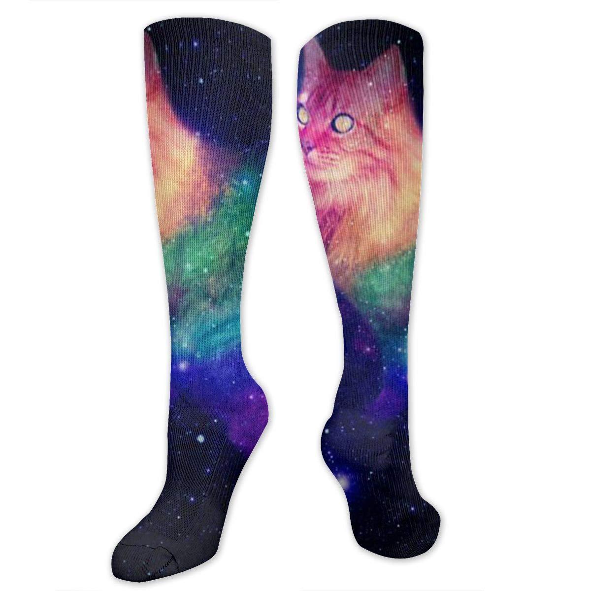 Men Multicolored Pattern Fashionable Fun Crew Cotton Socks Chanwazibibiliu Cat in Space Tumblr Galaxy Mens Colorful Dress Socks Funky