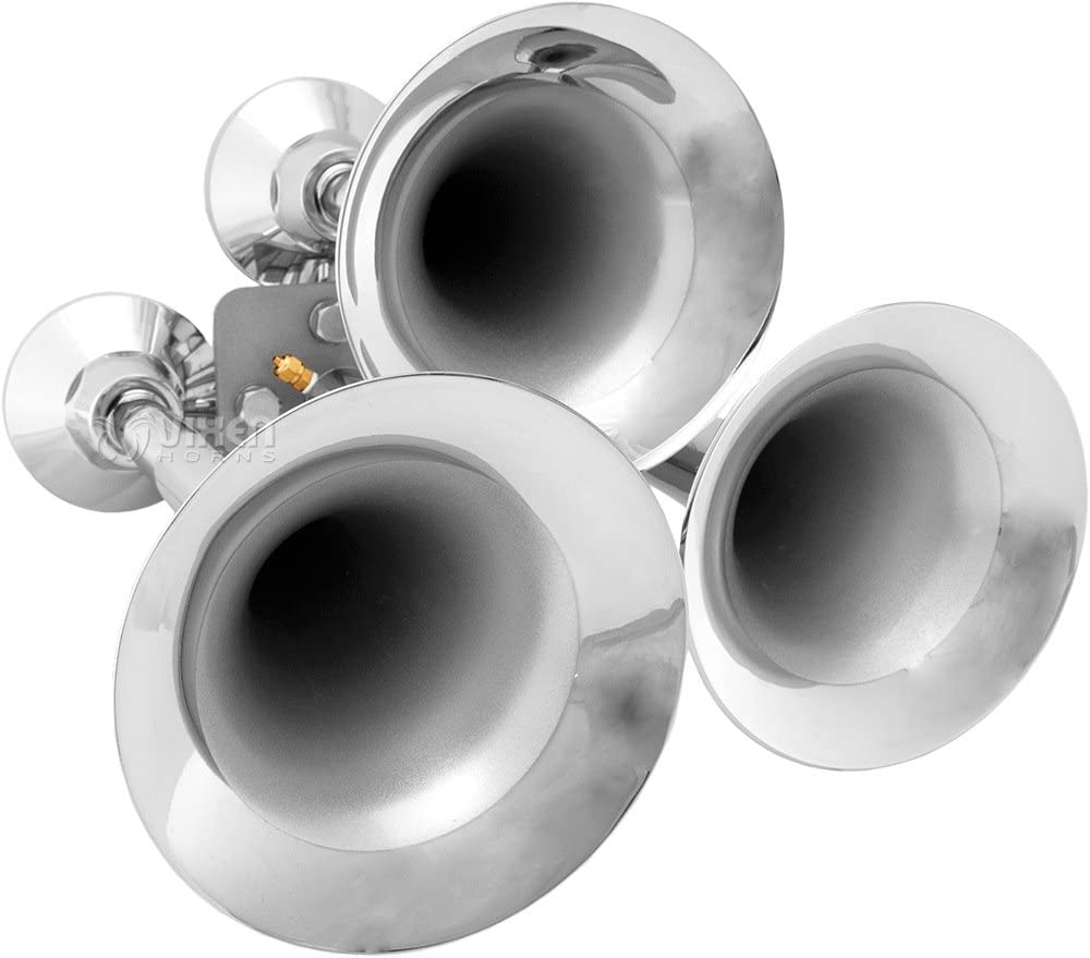 Vixen Horns Loud 152dB 3//Triple Chrome Trumpet Train Air Horn with 1 Gallon Tank and 150 PSI Compressor Full//Complete Onboard System//Kit VXO8210//3318