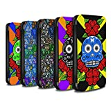 STUFF4 PU Leather Wallet Flip Case/Cover for Apple iPhone X/10 / Pack 13pcs Design / Candy Skull Calavera Collection