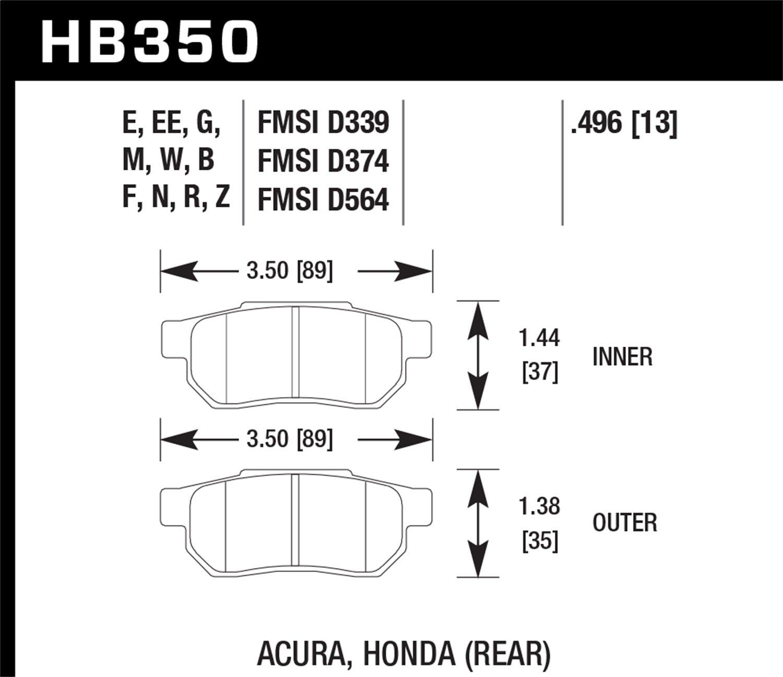 Hawk Performance HB350M.496 Disc Brake Pad