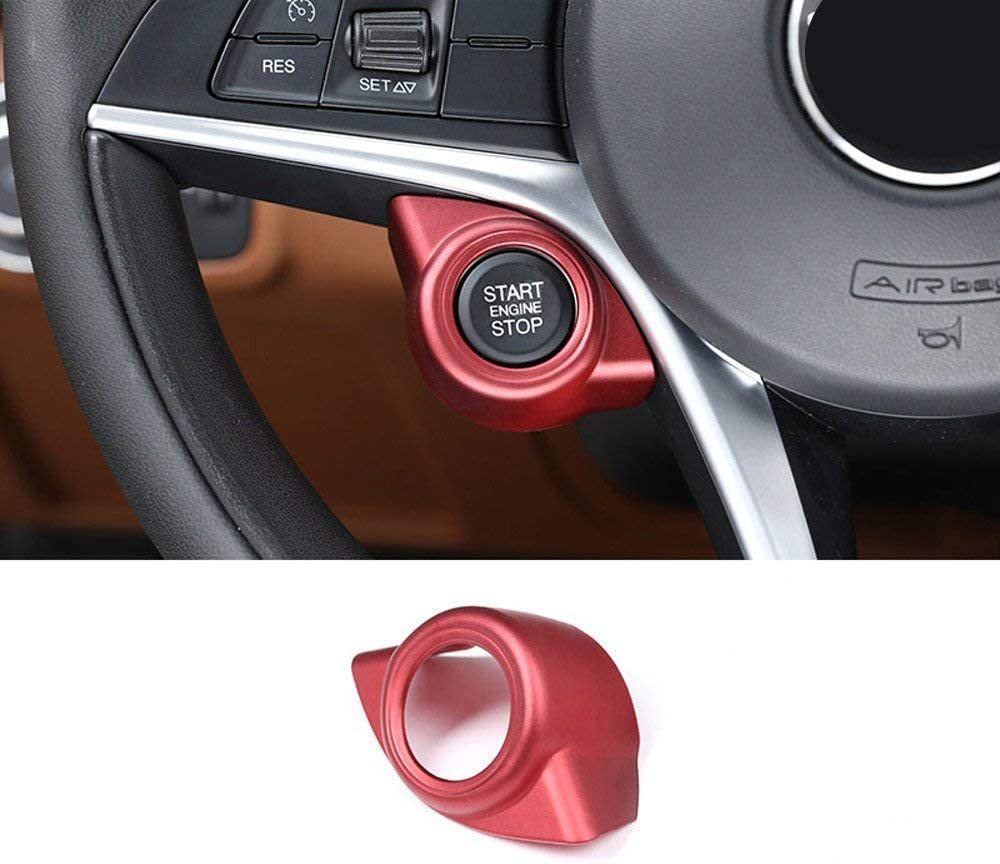 YIWANG 3 Colors ABS Chrome Car Interior Start Engine Stop Cover Trim For Alfa Romeo Giulia Stelvio 2016-2019 Auto Accessories (Red)