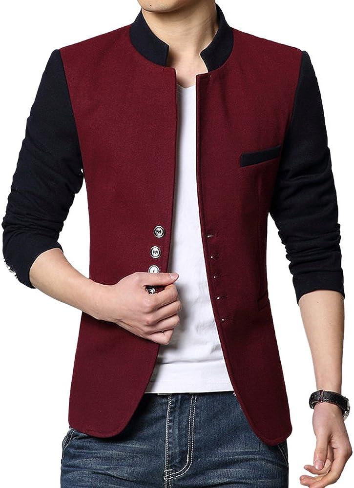 YOUR GALLERY Herren Mode Koreanisch schlank splei/ßen mehrere Knopf Sakko Stehkragen Jacke