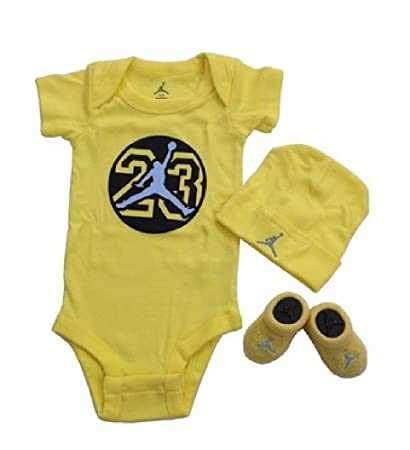 1f1af44e9 Image Unavailable. Image not available for. Color: Nike Air Jordan 23 Baby  Boys Bodysuit Hat Booties Set 0-6 Months 3 Piece