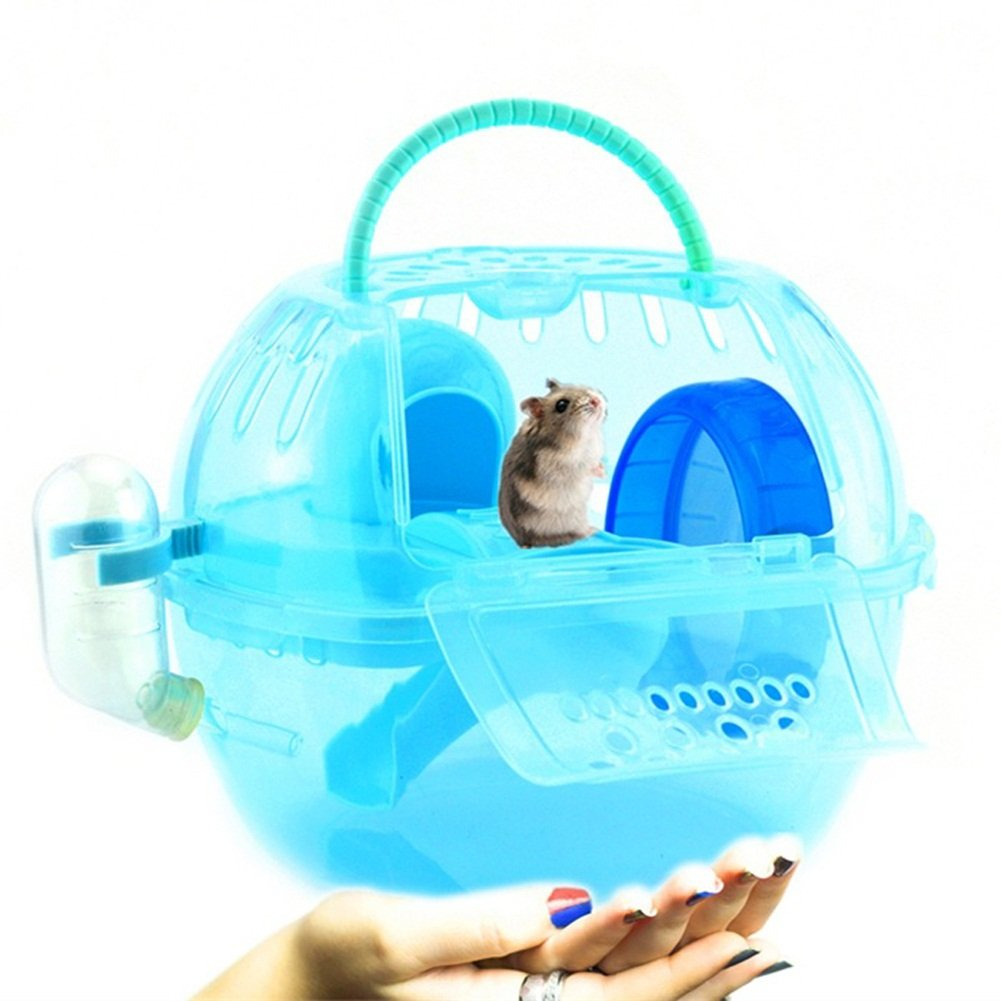 Dollshow Portable Hamster Cage with Water Drink Bottle Crystal Pet Outdoor Travel Carrier Dwarf Mice Moving House Habitat for Small Animals (Blue)
