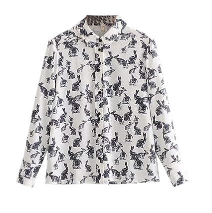 FuweiEncore Camisa de Manga Larga para Mujer de Estilo Vintage de Blusa Estampada Floral de Moda