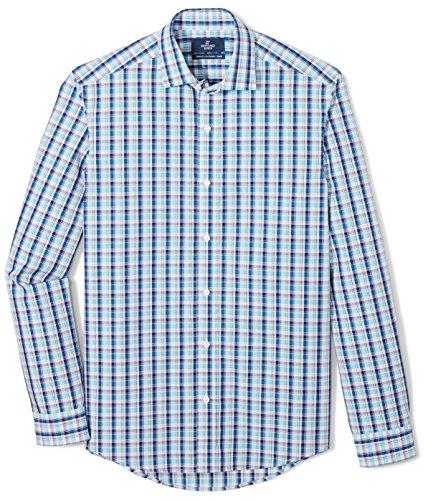 Buted Down Supima - Playera Deportiva de algodón para Hombre, Aqua/Blue/Brown Plaid, 4XL Short