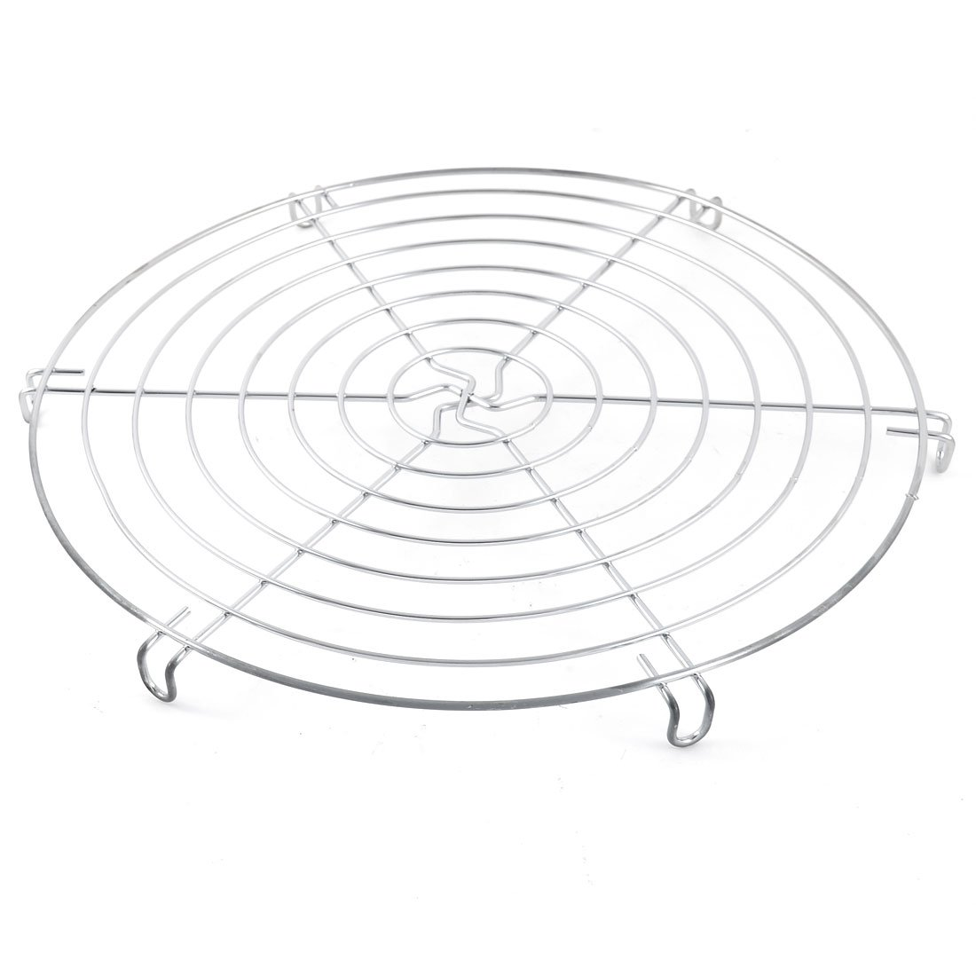 uxcell Metal Round Shape Cake Fondant Muffin Cookie Pancake Pie Cooling Rack 30cm Silver Tone a16030700ux0344