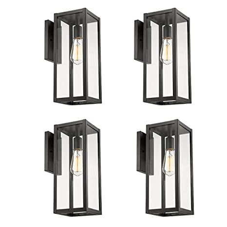 Bestshared Outdoor Wall Lantern 4 Pack Exterior Wall Sconce Light Fixtures Wall Mounted Single Light Black Wall Lamp With Clear Glass