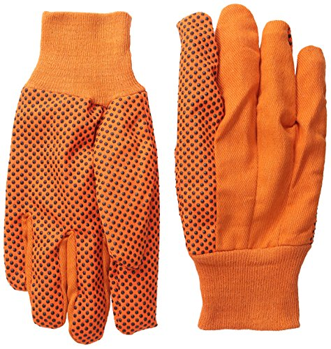 Global Glove C11OD1 Medium Weight Cotton Canvas Glove with Green PVC Dots and Knit Wrist Cuff, Work, Large (Case of 300)