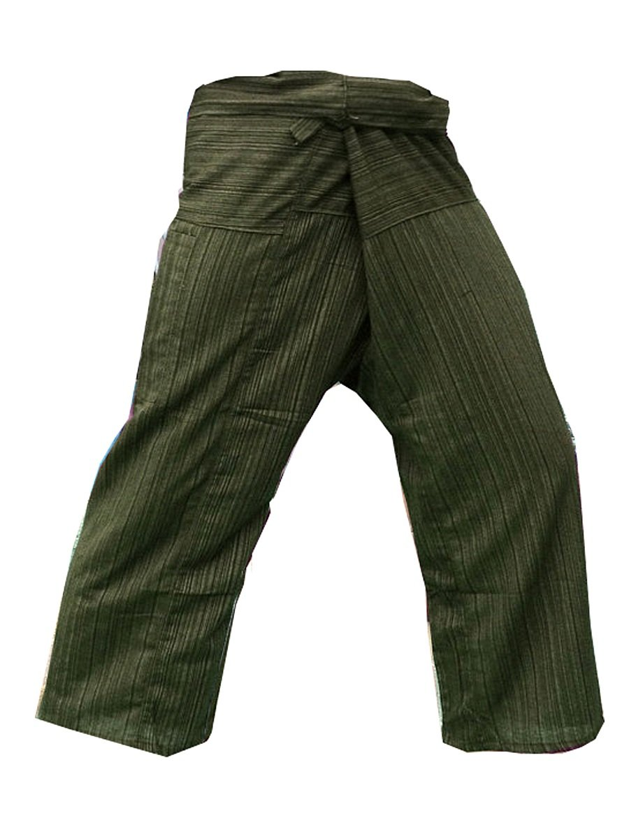 Thai Fisherman Pants Yoga Trousers Free Size Cotton Dk Olive Green Thailand