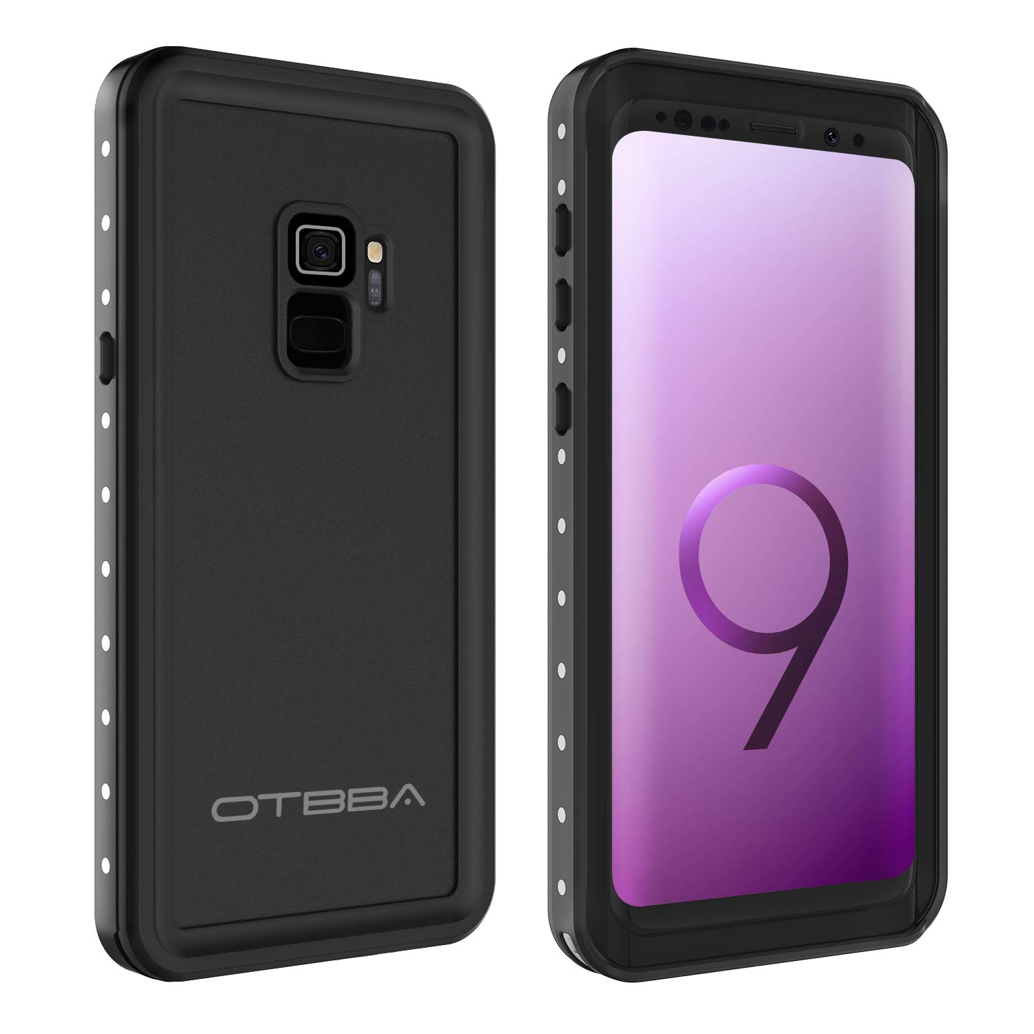 OTBBA Galaxy S9 Waterproof Case,Shockproof Protective Case with Dirtproof Snowproof Full Body Cover for Galaxy S9 (Black)