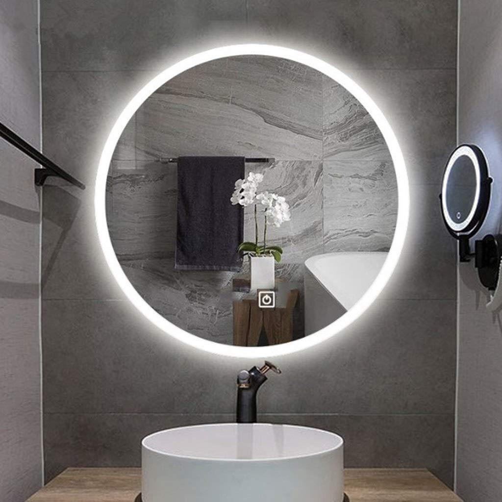 壁掛け鏡 照明付き壁掛けバスルームミラー 円形 スマートタッチ 背景の壁の装飾 虚栄心/リビング/寝室用 (Size : 70CMx70CM) B07SRYTK3H  70CMx70CM