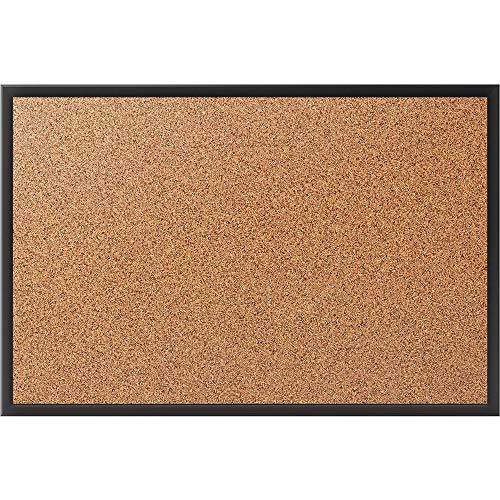(Staples 1798334 Standard Cork Bulletin Board Black Aluminum Frame 3'W X 2'H )