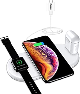 Wireless Charger,COSOOS 3in1 Wireless Charging Pad Compatible with Apple Products,iWatch Series 5/4/3/2/1,Charging Mat for iPhone 11Pro Max/11 Pro/Xs/Xr/X/8 Plus,Airpods Pro/2/1(No Watch Charger)