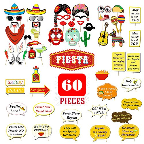 SPECIAL OFFER 60PCS! Mexican Fiesta Photo Booth Props,
