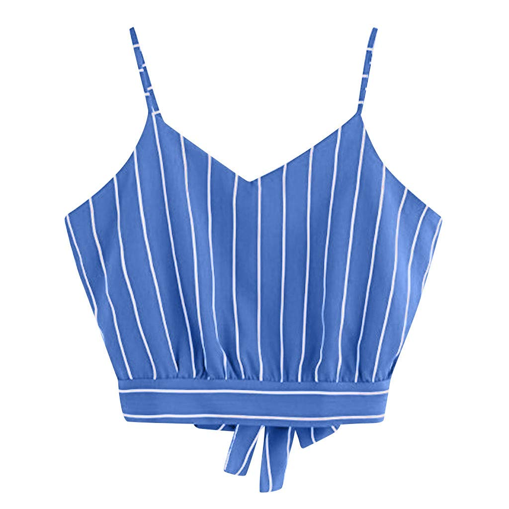 BCDshop 2018 New Women Teen Girl Striped Crop Cami Top Self Tie Back V Neck Camisole Blouse White
