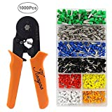 Crimp Tool Kit, 1000pcs 0.25-6.0mm2 Insulated Electrical Cord Pin End Terminals, Tubular Terminals with Ferrule Crimping Plier / Wire Stripping Tool, Assorted Wire Connector
