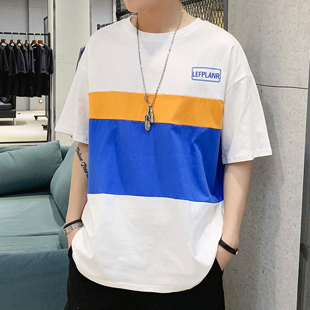 Yutao Mens New Summer Casual Color Collision Splicing Loose Short Sleeve T-Shirt Tops
