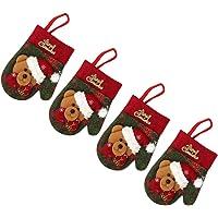 DOITOOL 4 Stuks Kerstbestekzakjes Mini Kerstsokjes Handschoenen Beer Servieshoes Xmas Bestekhouders Kersttafeldecoratie