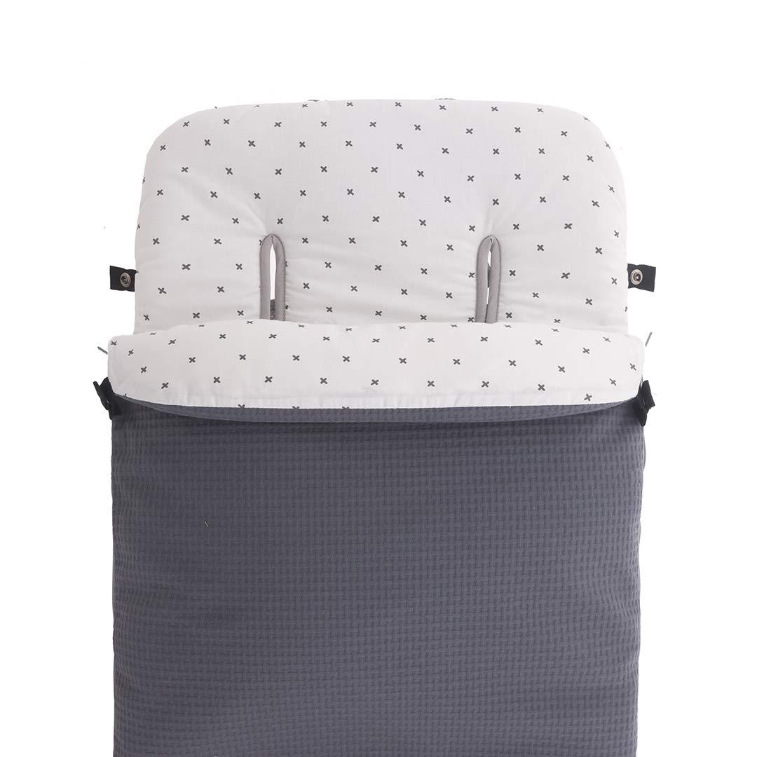 Color Gris Kiwisac Saco de Entretiempo Sweet Grey Universal para Silla de Paseo Con Cremallera Saco Cubrepies 94x45 cm