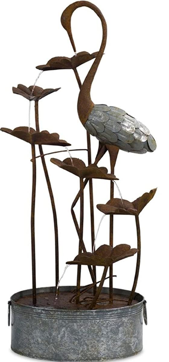 "Melrose Decorative Rustic Brown and Gray Indoor and Outdoor 50""H Crane and Lily Pad Fountain"