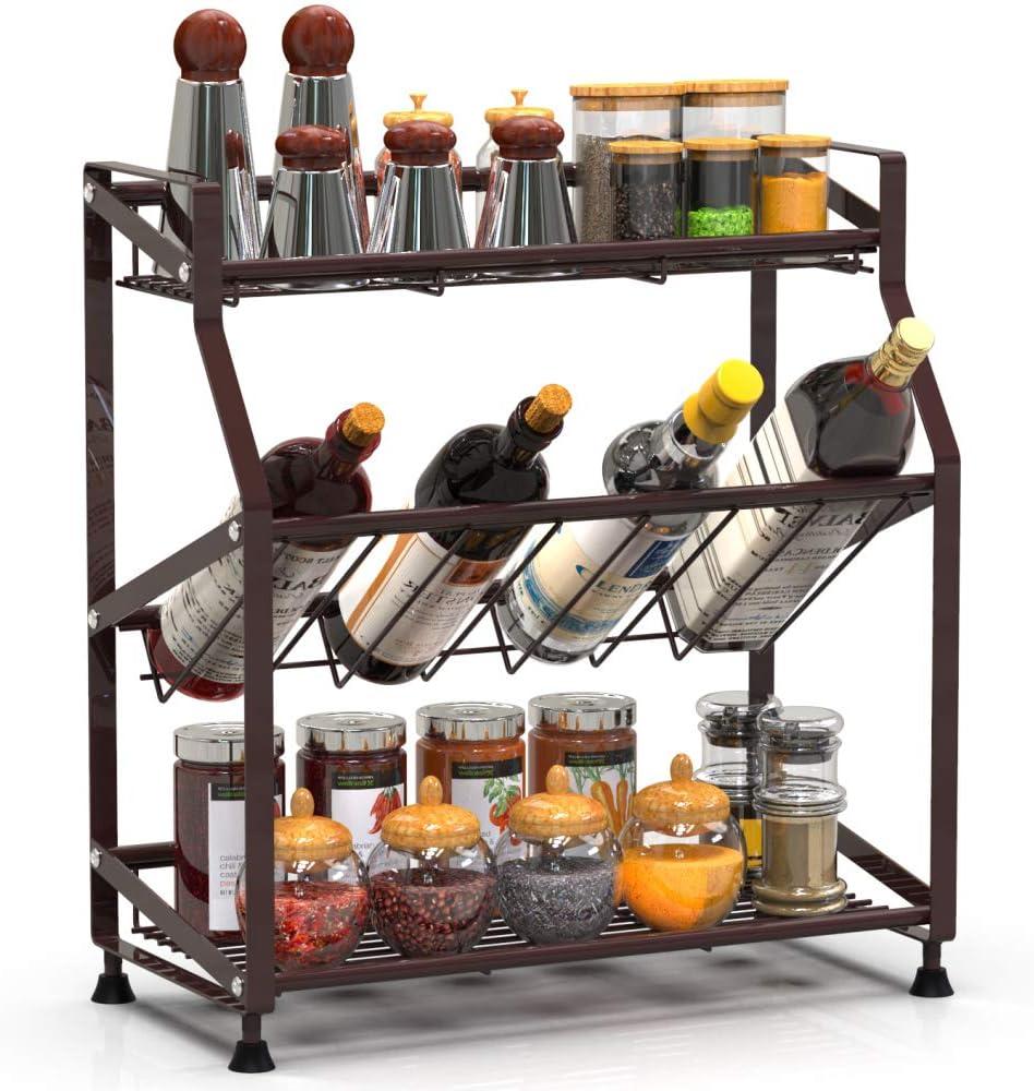 Spice Rack, Cambond Spice Organizer Seasoning Organizer 3-Tier Kitchen Rack for Kitchen Counter, Cabinets and Pantry Organization, Bronze