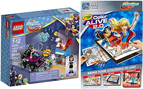 [DC Super Hero Girls Play-Set Crayola Color Alive 2.0 + Lashina Tank & Kyrtpo Dog Action Figure Super Hero Fun Set Crayons & Coloring Pages] (Monster High Super Hero Costumes)