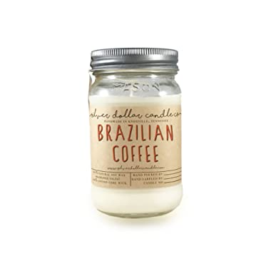 Brazilian Coffee 16oz Scented Candle Mason Jar | Made with 100% Soy Wax - Artisan, Hand poured by Silver Dollar Candle Co.