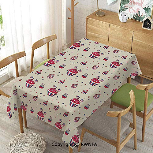 - Tablecloth for Dining Room for Rectangle Tables,Cupcakes with National Flags Cute Cafe Yummy Homeland July Fourth Caricature Decorative,Waterproof Stain-Resistant,Beige Navy Blue Red,55