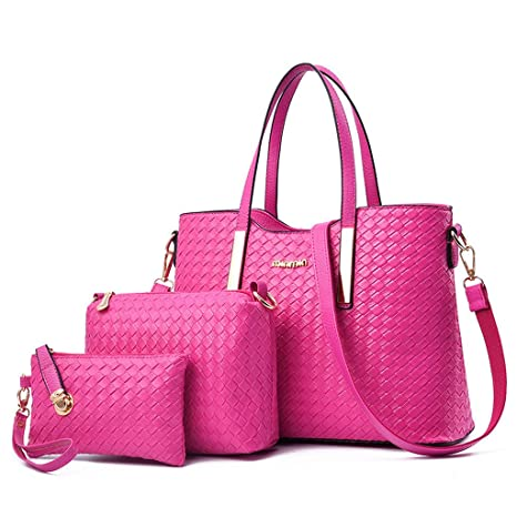 1b54c6635f51 Amazon.com: Bag 3pcs Set Women's Handbags Purses Ladies Tote ...