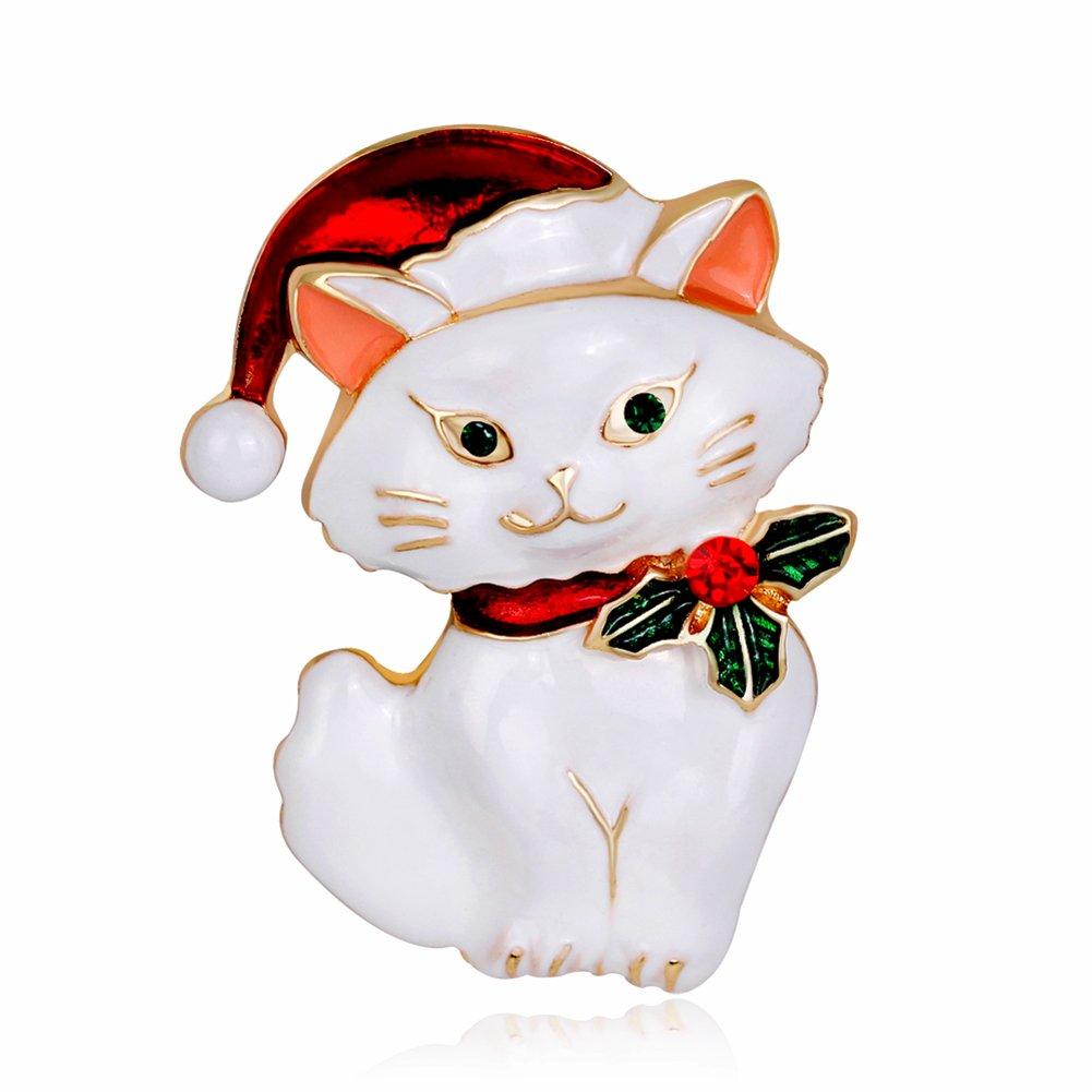 Nuohuilekeji Women's Vintage Enamel Lovely Cat Christmas Brooch Pin Breastpin Xmas Gift