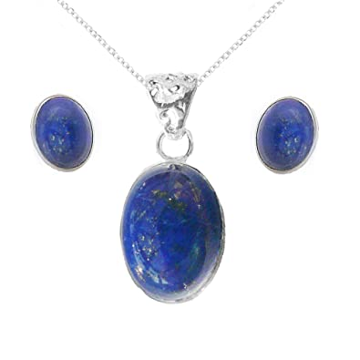 Oval LAPIS   LAZULI   Sterling  Silver   925  Blue Gemstone  PENDANT