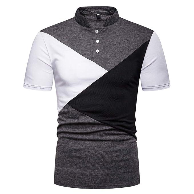 f184a0373 BHYDRY Camiseta Hombre Manera Corta de la Manga de la Raya del Remiendo de  la Camisa