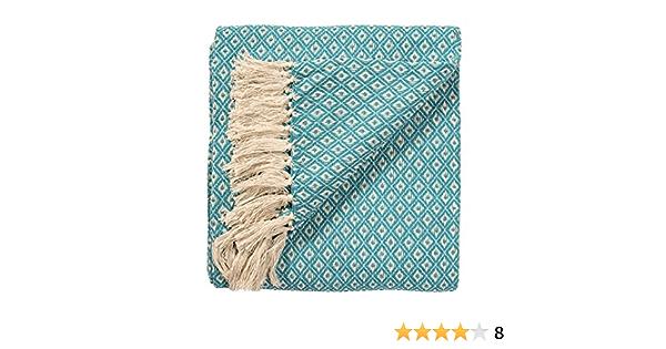 Manta Tejida a Mano para Colcha o sofás Color Turquesa/Azul Diamante patrón de Tejido 100 % algodón de 130 x 180 cm, Comercio Justo, TH136TQ.