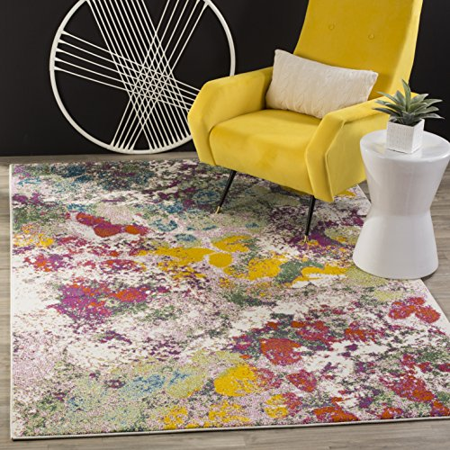 Safavieh Water Color Collection WTC696E Light Green and Rose Area Rug, 5'3