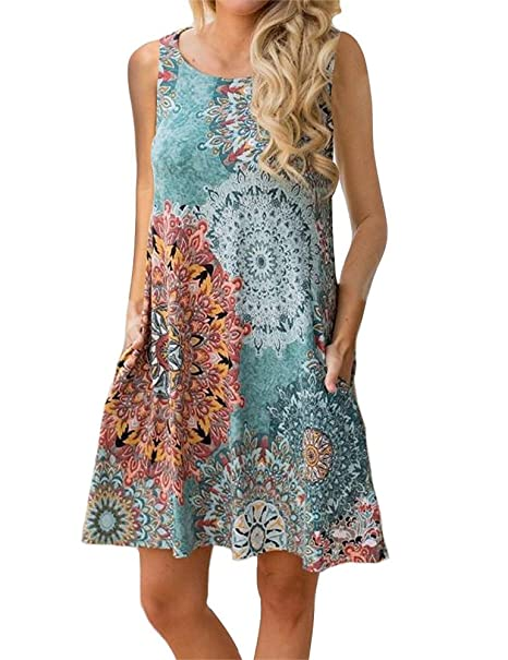 08e1f6d8bab Ruici Women s Casual Summer Floral Sundresses Sleeveless Tunic Dresses Tank  Dresses with Pockets Green S