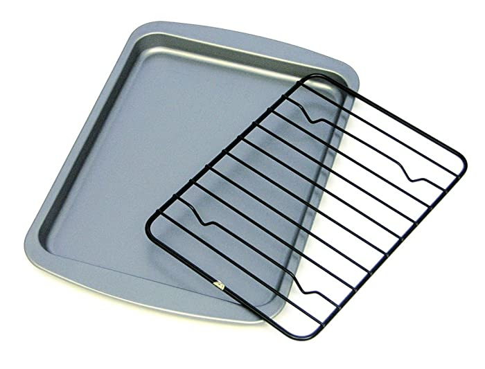 OvenStuff Non-Stick Toaster Oven Cookie Pan with Non-Stick Cooling Rack