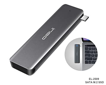 ElecGear USB 3.1 Gen2 Caja de Carcasa para SATA M.2 SSD, EL-2589 Disco Duro Adapter, 10Gbps Aluminio Case Adaptador, B Key NGFF SATA SSD ...