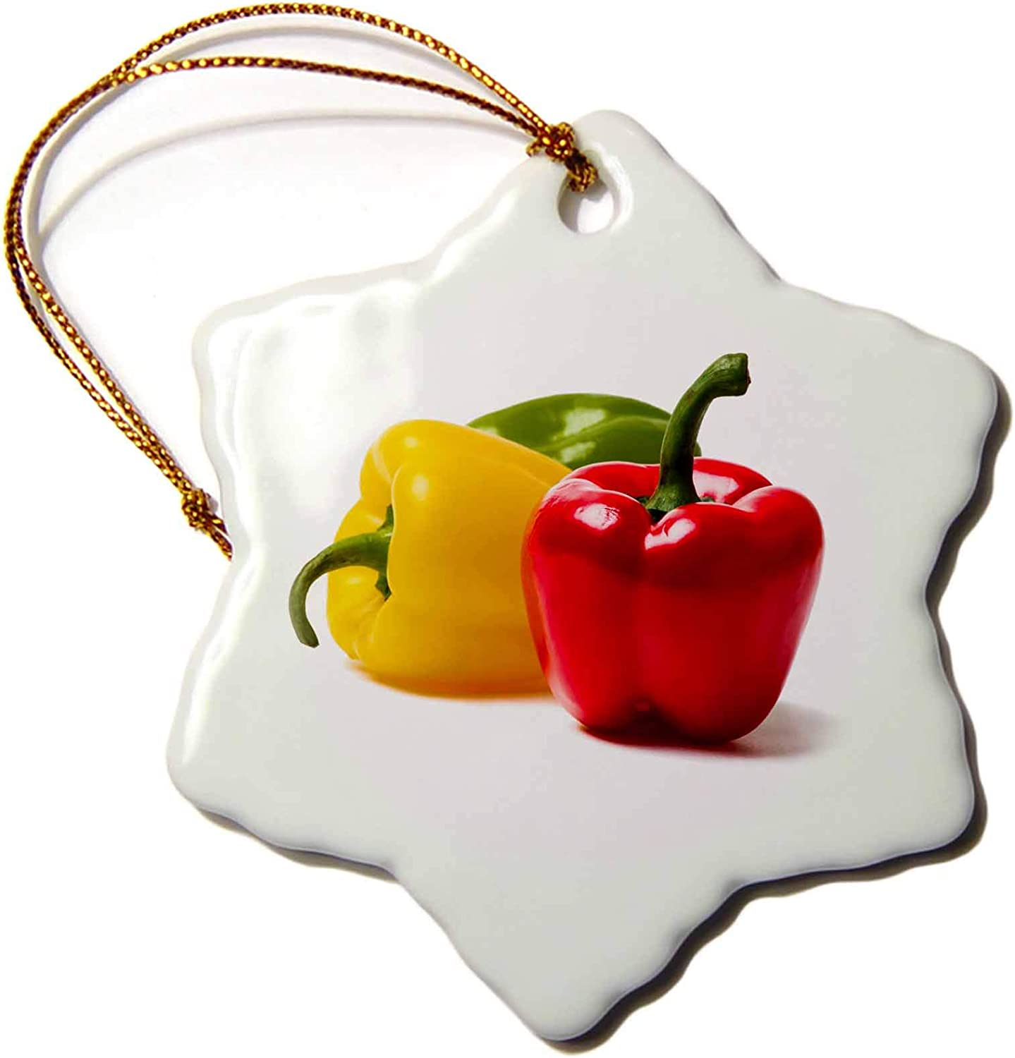 3dRose Red, Yellow, Green Bell Peppers. Red to The Front. White. - Ornaments (ORN_272079_1)