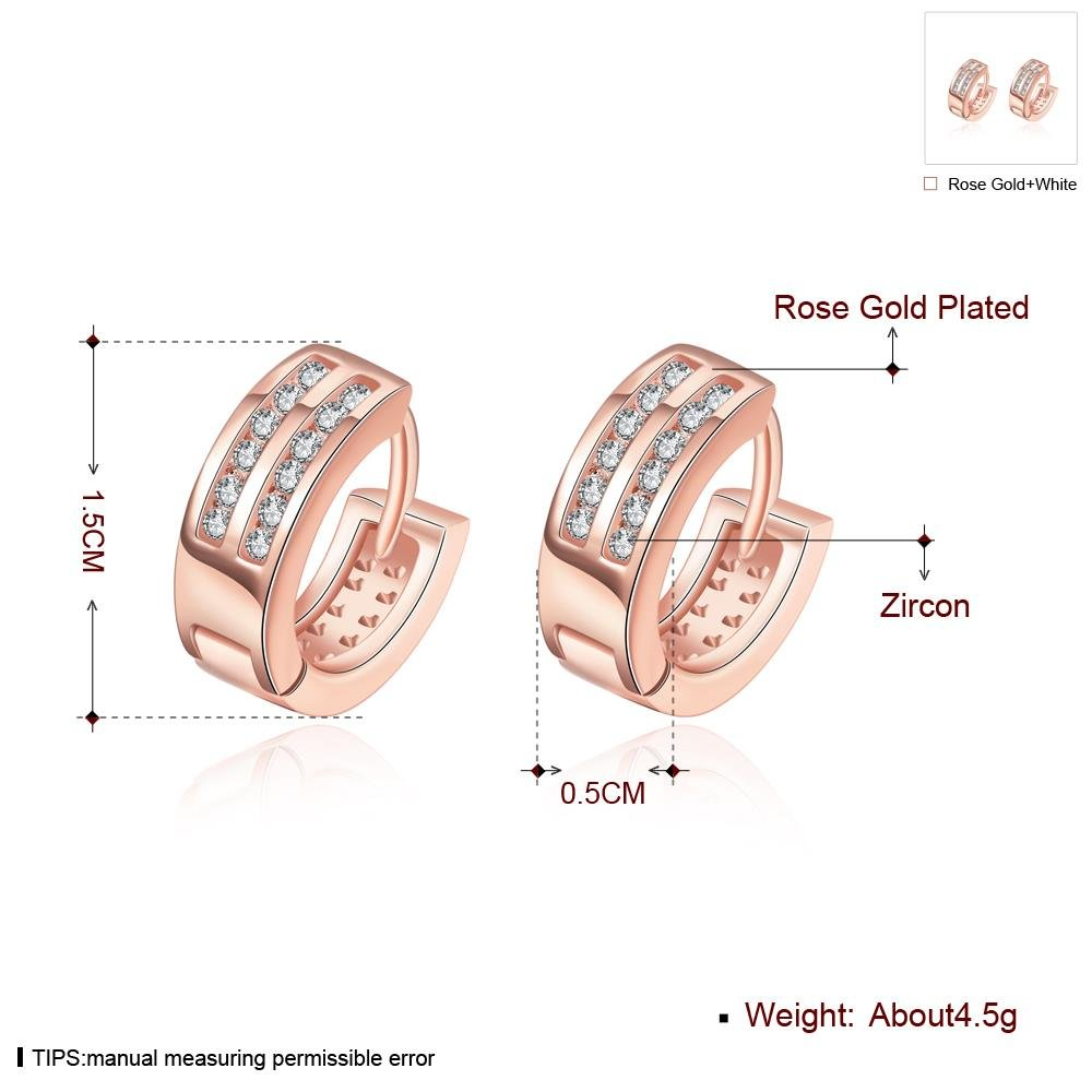 Fashion Hoop Earrings Double Cubic Zirconia Earrings Rromantic Girl Rose Gold Plating