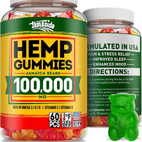 Hemp Gummies 25000 MG- Made in USA - 180 MG Hemp in Each Gummy - Premium Hemp Extract - CO2 Extraction - Omega 3, 6, 9 - Anxiety & Stress Relief - Sleep & Mood Improvement